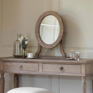 Launceston Dressing Table Mirror Wood Natural Castle Road Interiors