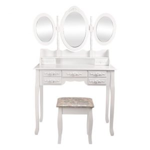 Mariam 3-Mirror Dressing Table and Stool Set MDF Assorted Levede
