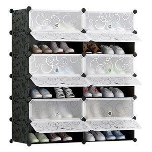 Mason 6-Tier Shoe Storage Cabinet Plastic Black/White Resort Living