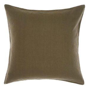 Nimes European Pillow Case, Olive Linen Linen House