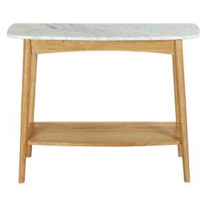 Oia Marble Console Table, Oak Oak/Marble Life Interiors