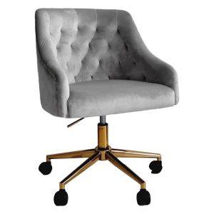 Roosevelt Tufted Velvet Office Chair Grey HOMESTAR