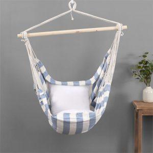 Vexana Indoor and Outdoor Hammock Fabric Natural/Light Blue Sherwood