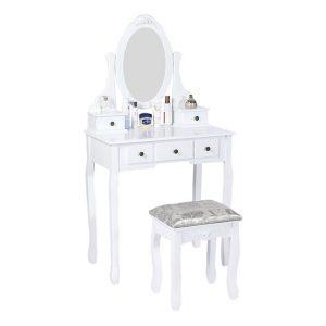 White Timber Dressing Table & Stool Wood Dreamo Living