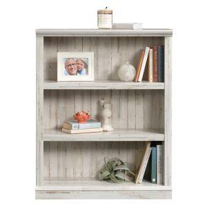 3-Shelf Bookcase White Plank Chipboard U.S Designs