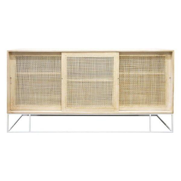 Amita Cane Front 3 Sliding Door Sideboard Wood Beige/White BANYAN HOME
