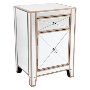 Apolo Bedside Table, Antique Gold MDF CAFE Lighting & Living