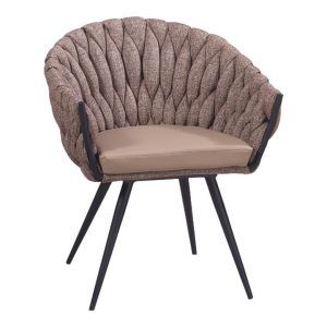 Ariey Commercial Grade Fabric & Steel Dining Armchair, Chocolate Milk
