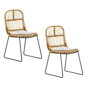 Astro Dining Chair (Set of 2) Rattan Natural/Black Eastern Warehouse