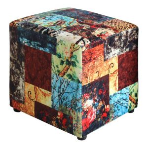 Becka Velvet Fabric Patchwork Ottoman, Pattern B
