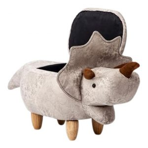 Ben Triceratops Kids' Storage Ottoman, Cream Fabric E-living