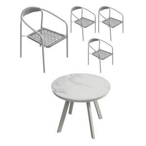 Bonzoa 5-Piece Outdoor Dining Set Steel White E-living