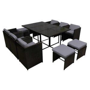Capetown 11-Piece Outdoor Dining Set, Black Plastic Frisse Outdoors
