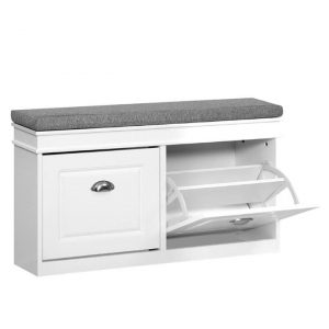 Dunca Shoe Cabinet Storage Bench MDF White Resort Living