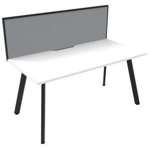 Eternity Office Desk with Screen, 120cm, White / Black