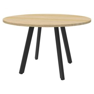 Eternity Round Office Meeting Table, 120cm, Oak / Black
