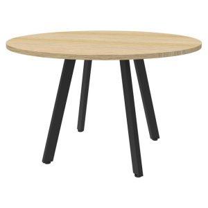 Eternity Round Office Meeting Table, 90cm, Oak / Black