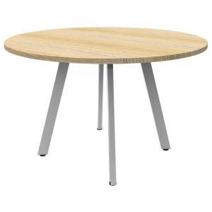 Eternity Round Office Meeting Table, 90cm, Oak / White