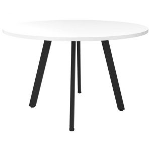 Eternity Round Office Meeting Table, 90cm, White / Black