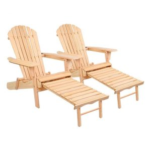 Gardeon Outdoor Lounge Chair (Set of 2) Wood Natural Frisse Outdoors