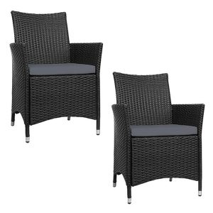 Hassan Outdoor Dining Chair (Set of 2) Wicker Black Frisse Outdoors