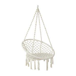 Hephae Indoor/Outdoor Hanging Chair, Cream Fabric Frisse Outdoors