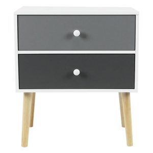 Iverson 2 Drawer Bedside Table MDF White/Grey HelloFurniture