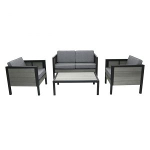 Jayla Outdoor 4-Piece Sofa Set Metal Ivory/Black Homeflex