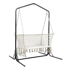 Keith Hammock with Stand Fabric Cream/Black Frisse Outdoors