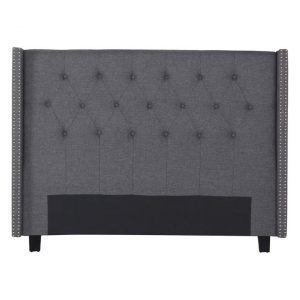 Marham Queen Bed Head Fabric Charcoal Rothbury Home