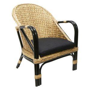 Marina Eceng Armchair Rattan Natural/Black BANYAN HOME