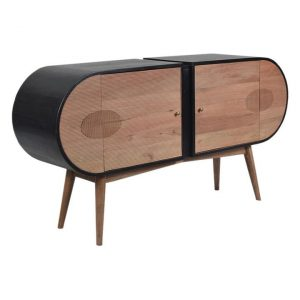 Oblong Sideboard Wood Natural/Black Phil Bee Interiors